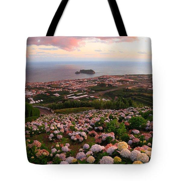 Azorean Town At Sunset Tote Bag by Gaspar Avila