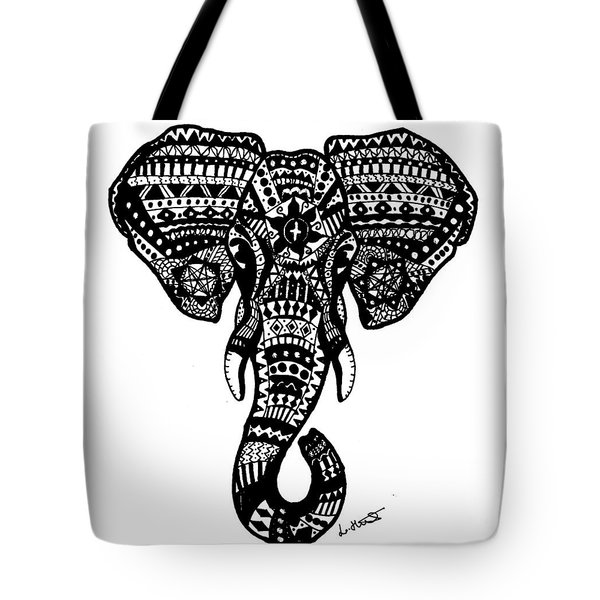 Aztec Elephant Head Tote Bag by Loren Hill