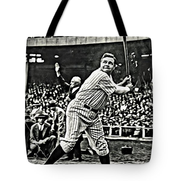 Babe Ruth Painting Tote Bag by Florian Rodarte