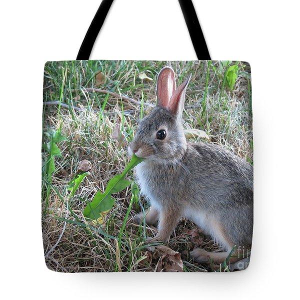 Baby Bunny Eating Dandelion #01 Tote Bag by Ausra Huntington nee Paulauskaite