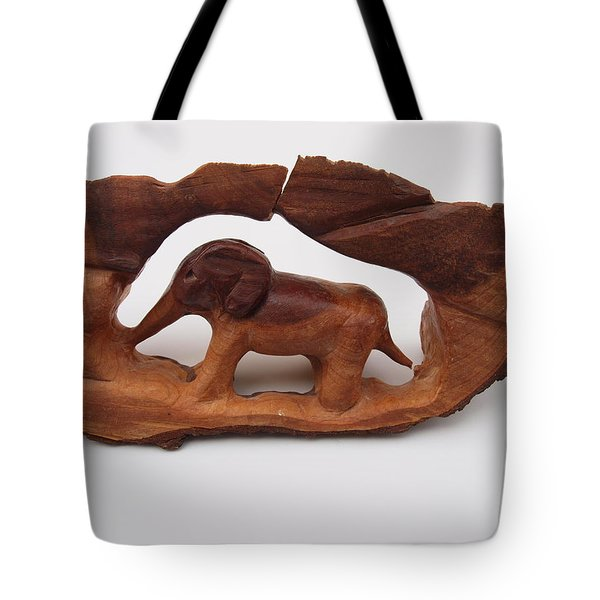 Baby Elephant Stuck In A Tree Tote Bag by Robert Margetts