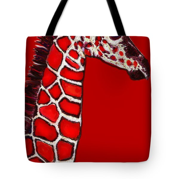 Baby Giraffe In Red Black And White Tote Bag by Jane Schnetlage