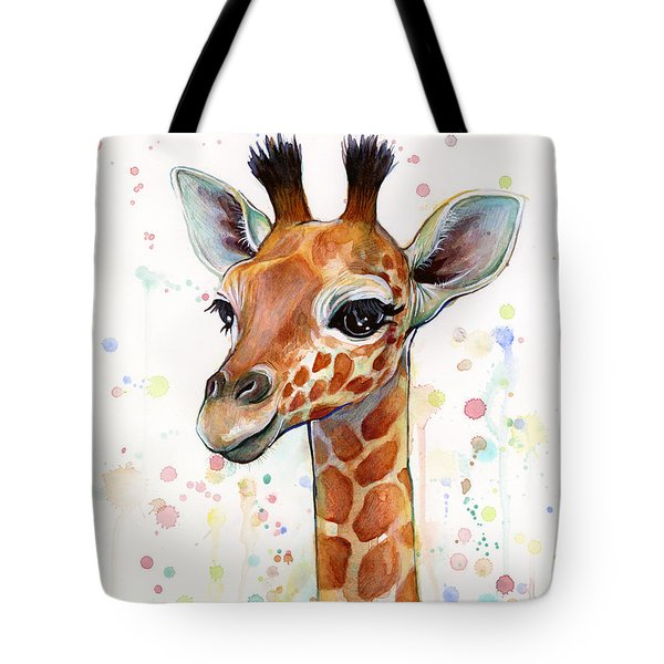 Baby Giraffe Watercolor  Tote Bag by Olga Shvartsur