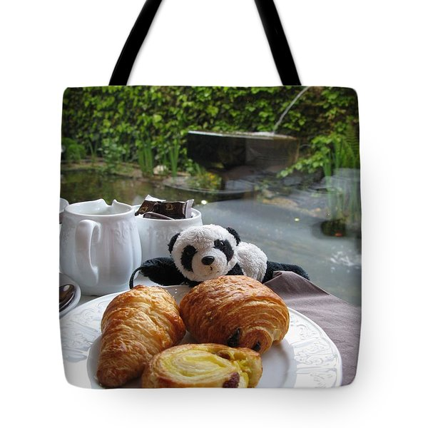 Baby Panda And Croissant Rolls Tote Bag by Ausra Huntington nee Paulauskaite
