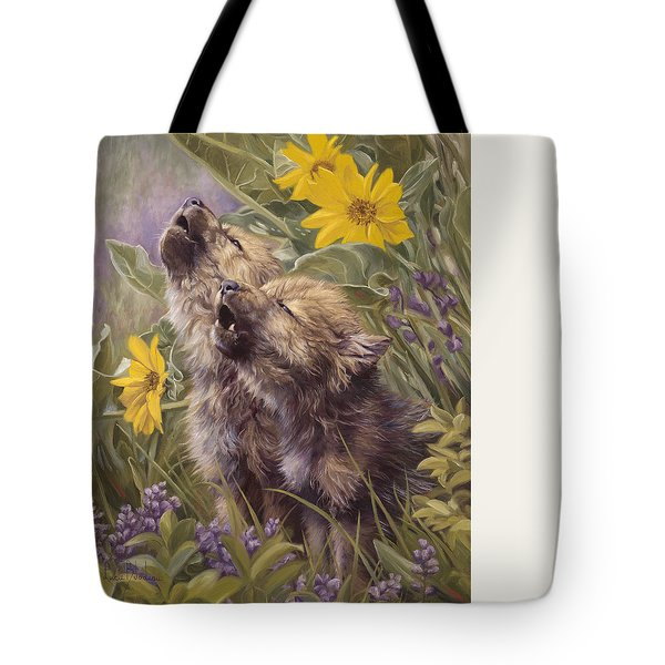 Baby Wolves Howling Tote Bag by Lucie Bilodeau