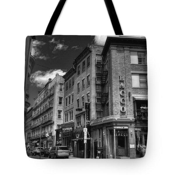 Bacco in Black and White Tote Bag by Joann Vitali