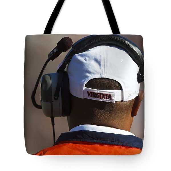 Back Of Mike London Head With Headset Virginia Cavaliers Tote Bag by Jason O Watson