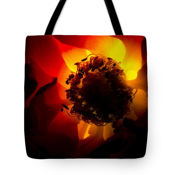 Backlit flower Tote Bag by Fabrizio Troiani