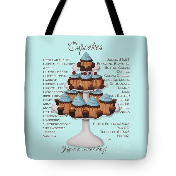 Baked Fresh Daily Aqua Background Tote Bag by Catherine Holman