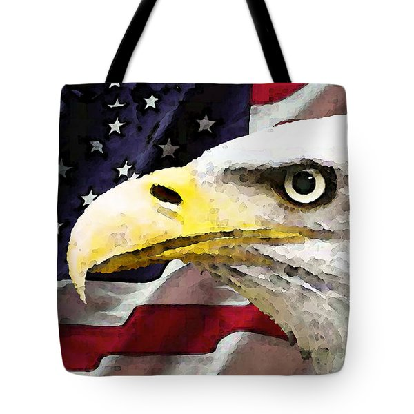 Bald Eagle Art - Old Glory - American Flag Tote Bag by Sharon Cummings
