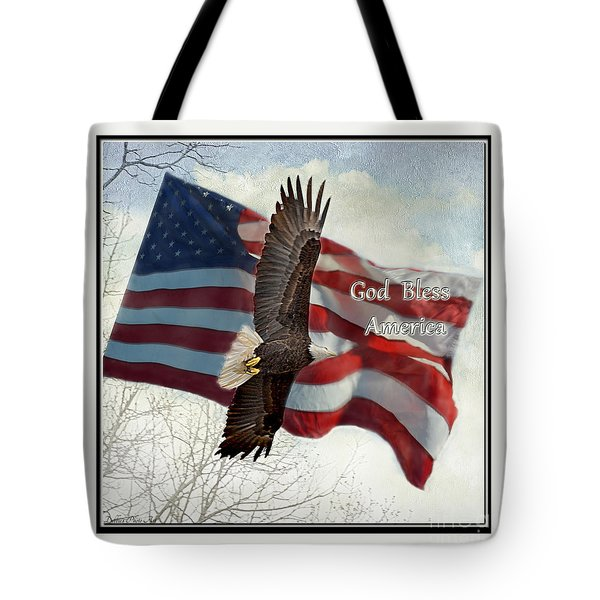 Bald Eagle  God Bless America Tote Bag by Debbie Portwood