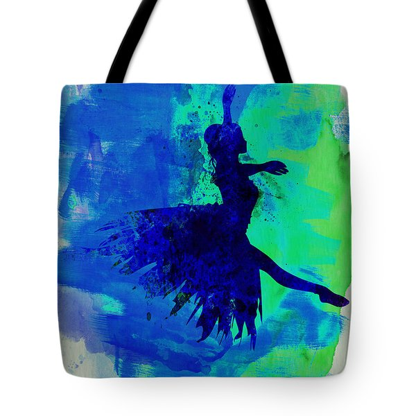 Ballerina On Stage Watercolor 5 Tote Bag by Naxart Studio