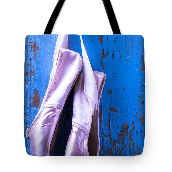 Ballet Shoes On Blue Wall Tote Bag by Garry Gay