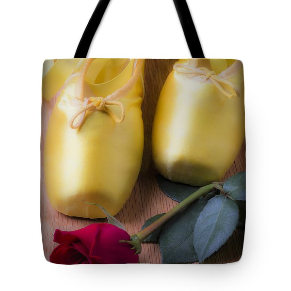 Ballet shoes with red rose Tote Bag by Garry Gay