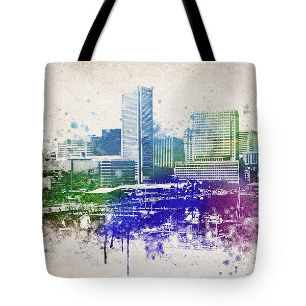 Baltimore City Skyline Tote Bag by Aged Pixel