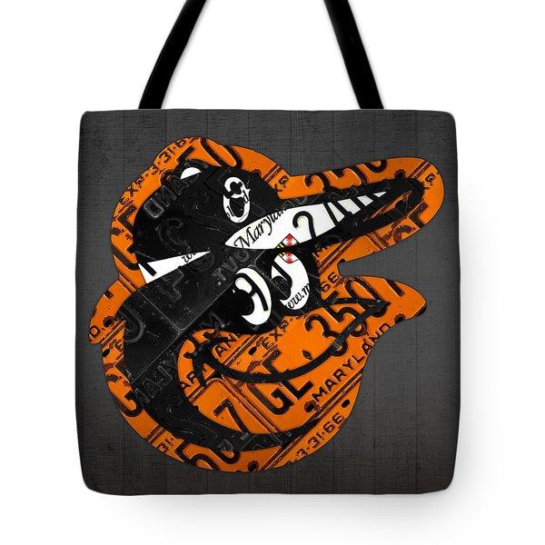 Baltimore Orioles Vintage Baseball Logo License Plate Art Tote Bag by Design Turnpike