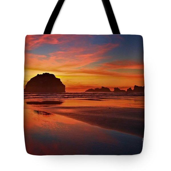 Bandon Sunset Spectacular Tote Bag by Adam Jewell