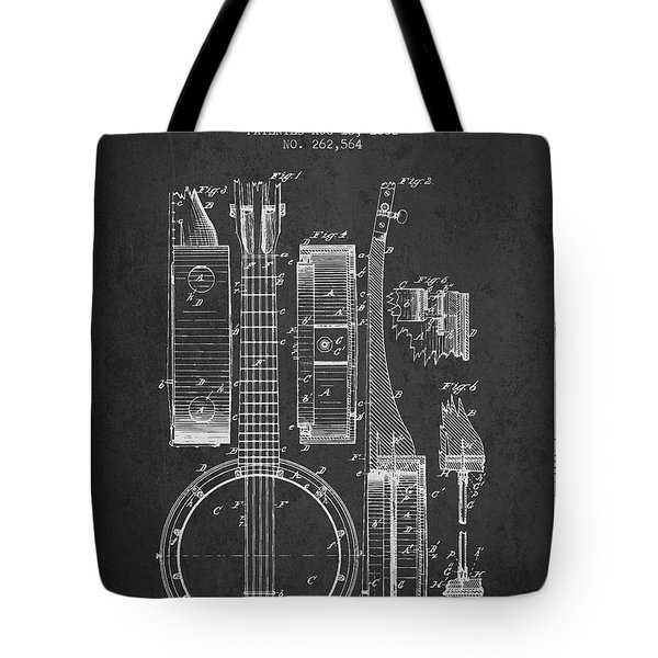 Banjo patent Drawing from 1882 Dark Tote Bag by Aged Pixel