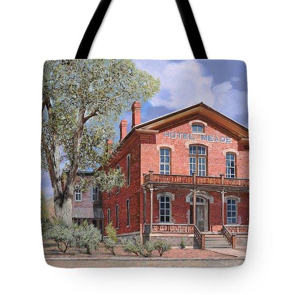 Bannock-Montana-hotel Meade Tote Bag by Guido Borelli