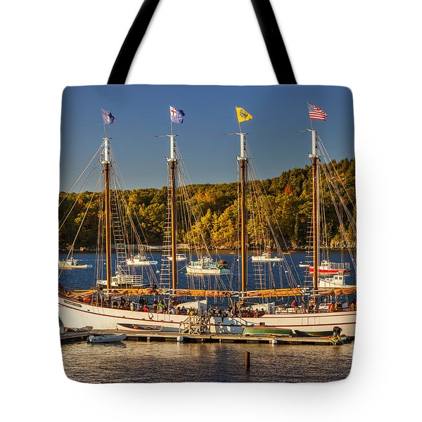 Bar Harbor Schooner Tote Bag by Brian Jannsen
