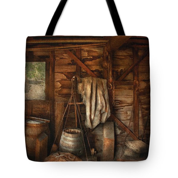Bar - Weighing the hops Tote Bag by Mike Savad