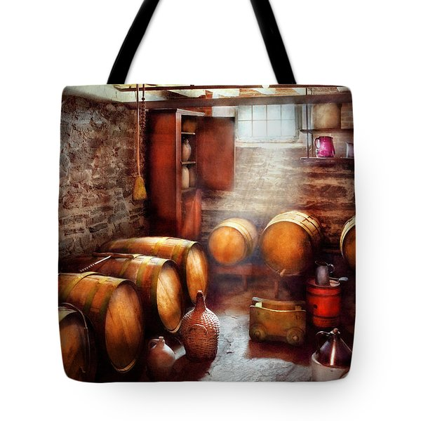 Bar - Wine - The Wine Cellar  Tote Bag by Mike Savad