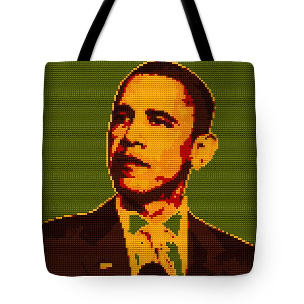 Barack Obama Lego Digital Painting Tote Bag by Georgeta Blanaru
