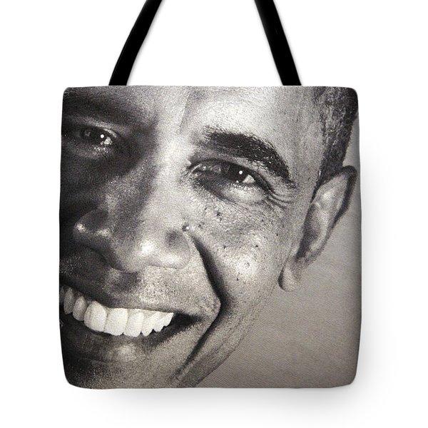 Barack Obama Up Close Tote Bag by Cora Wandel