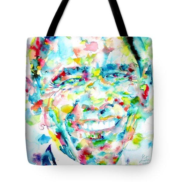 Barack Obama - Watercolor Portrait Tote Bag by Fabrizio Cassetta