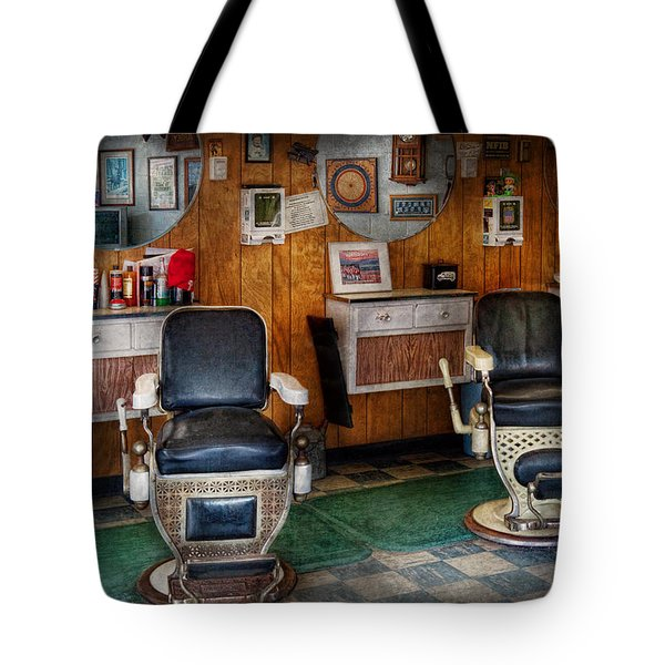 Barber - Frenchtown NJ - Two old barber chairs  Tote Bag by Mike Savad
