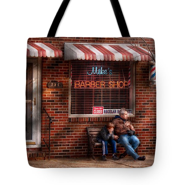 Barber - Metuchen Nj - Waiting For Mike Tote Bag by Mike Savad