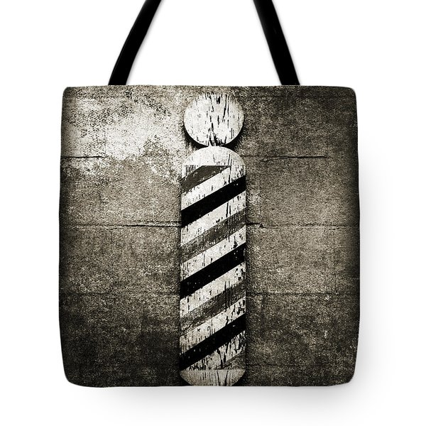 Barber Pole Black And White Tote Bag by Andee Design