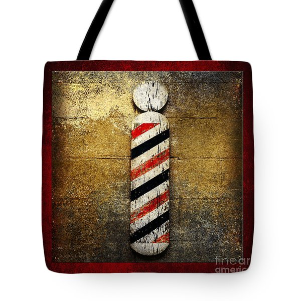 Barber Pole Square Tote Bag by Andee Design
