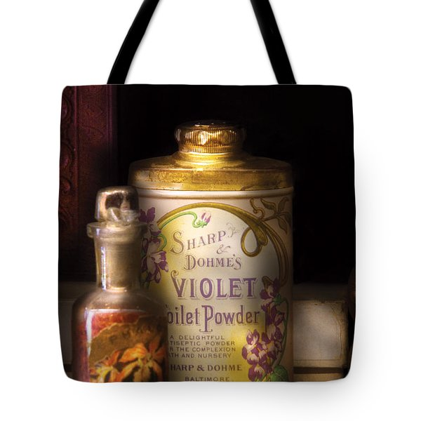 Barber -  Sharp And Dohmes Violet Toilet Powder  Tote Bag by Mike Savad