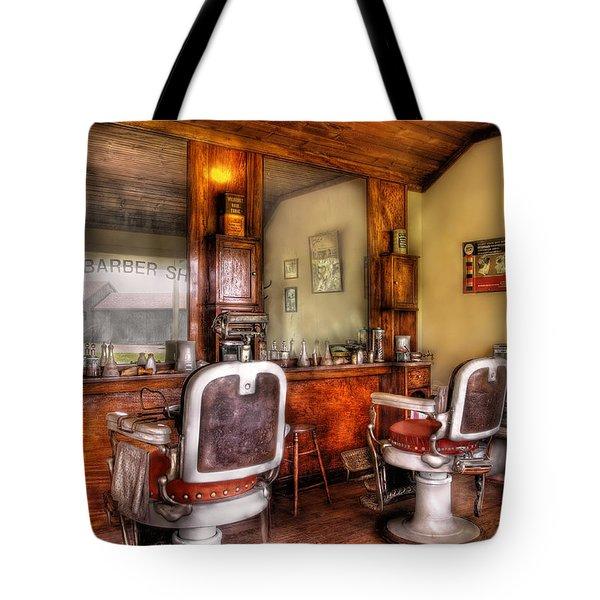Barber - The Barber Shop II Tote Bag by Mike Savad