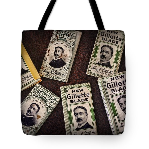 Barber - Vintage Gillette Razor Blades Tote Bag by Paul Ward
