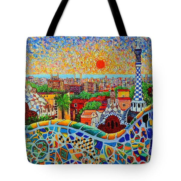 Barcelona View At Sunrise - Park Guell  Of Gaudi Tote Bag by Ana Maria Edulescu
