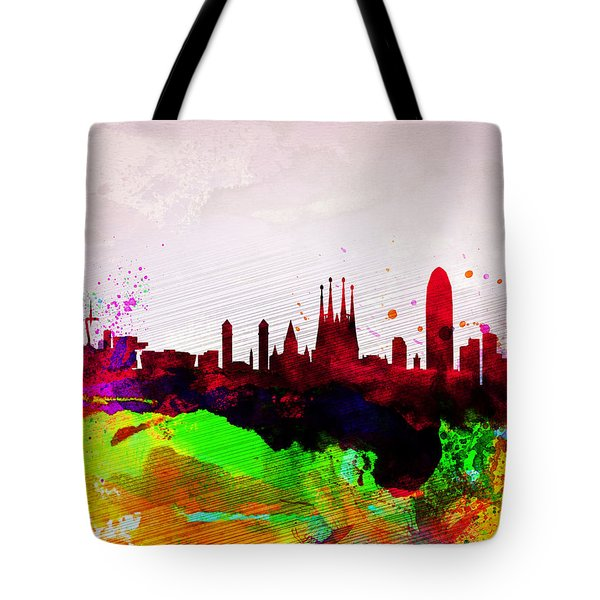 Barcelona Watercolor Skyline Tote Bag by Naxart Studio