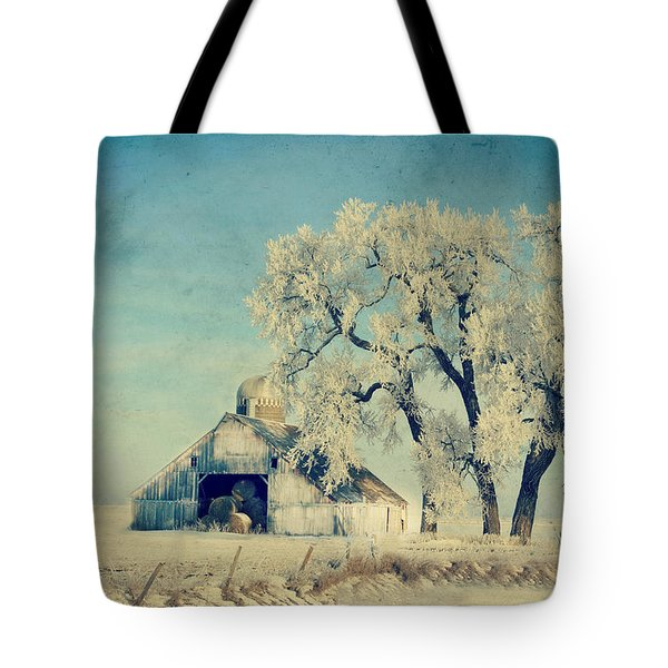 Barn Frosty Trees Tote Bag by Julie Hamilton