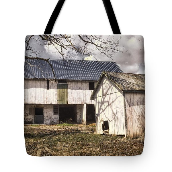 Barn Near Utica Mills Covered Bridge Tote Bag by Joan Carroll