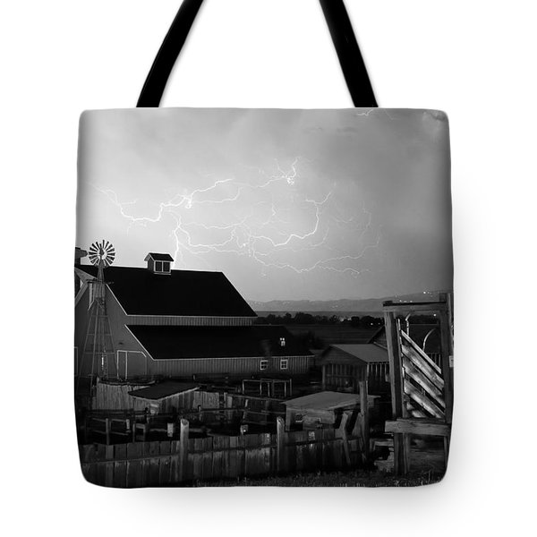 Barn On The Farm and Lightning Thunderstorm BW Tote Bag by James BO  Insogna