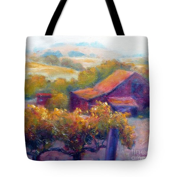 Barn Vineyard Tote Bag by Carolyn Jarvis