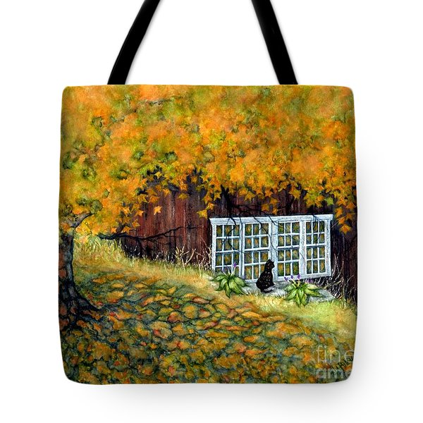 Barn window Reflections Tote Bag by Janine Riley