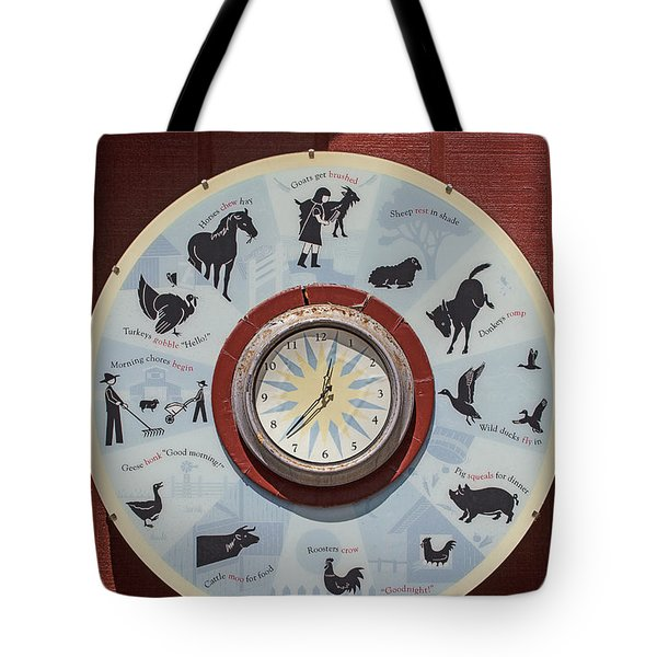 Barn yard clock Tote Bag by Garry Gay