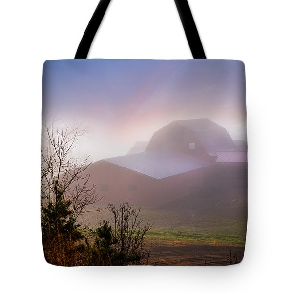 Barns In The Morning Light Tote Bag by Debra and Dave Vanderlaan
