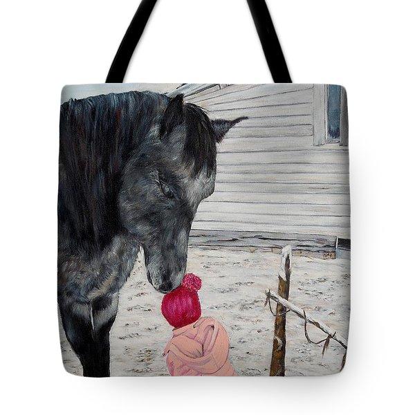 Barnyard Kiss Tote Bag by Marilyn  McNish