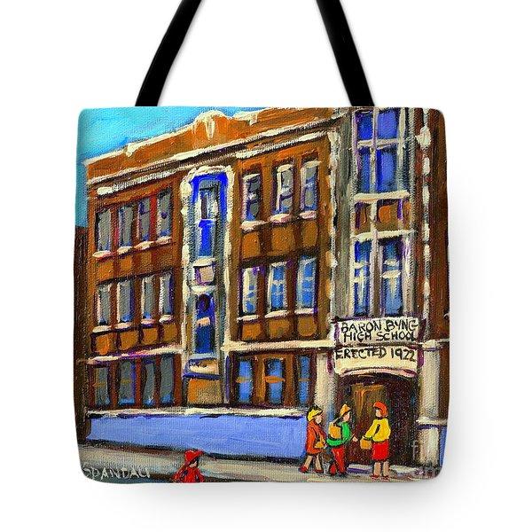BARON BYNG HIGH SCHOOL 4251 ST. URBAIN STREET PLATEAU MONTREAL CITY  SCENE CAROLE SPANDAU MONTREAL A Tote Bag by CAROLE SPANDAU
