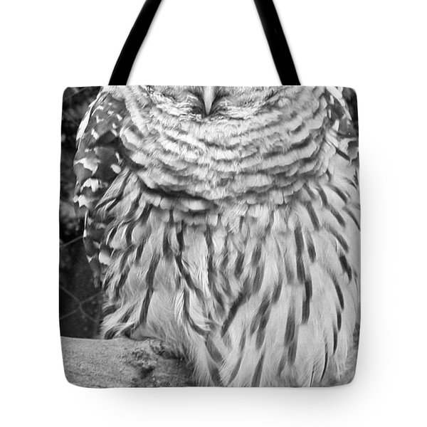 Barred Owl In Black And White Tote Bag by John Telfer