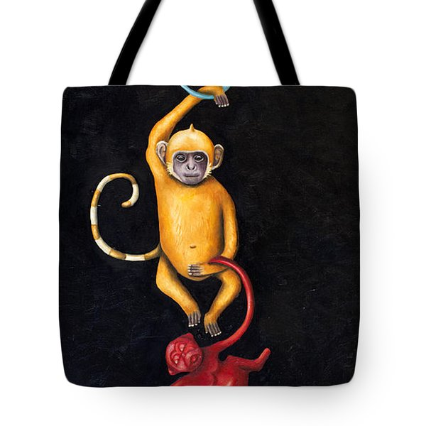 Barrel Of Monkeys Tote Bag by Leah Saulnier The Painting Maniac