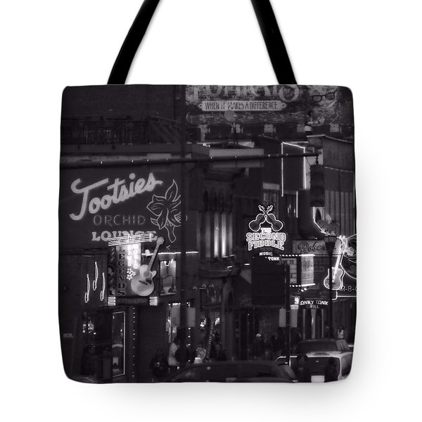 Bars On Broadway Nashville Tote Bag by Dan Sproul